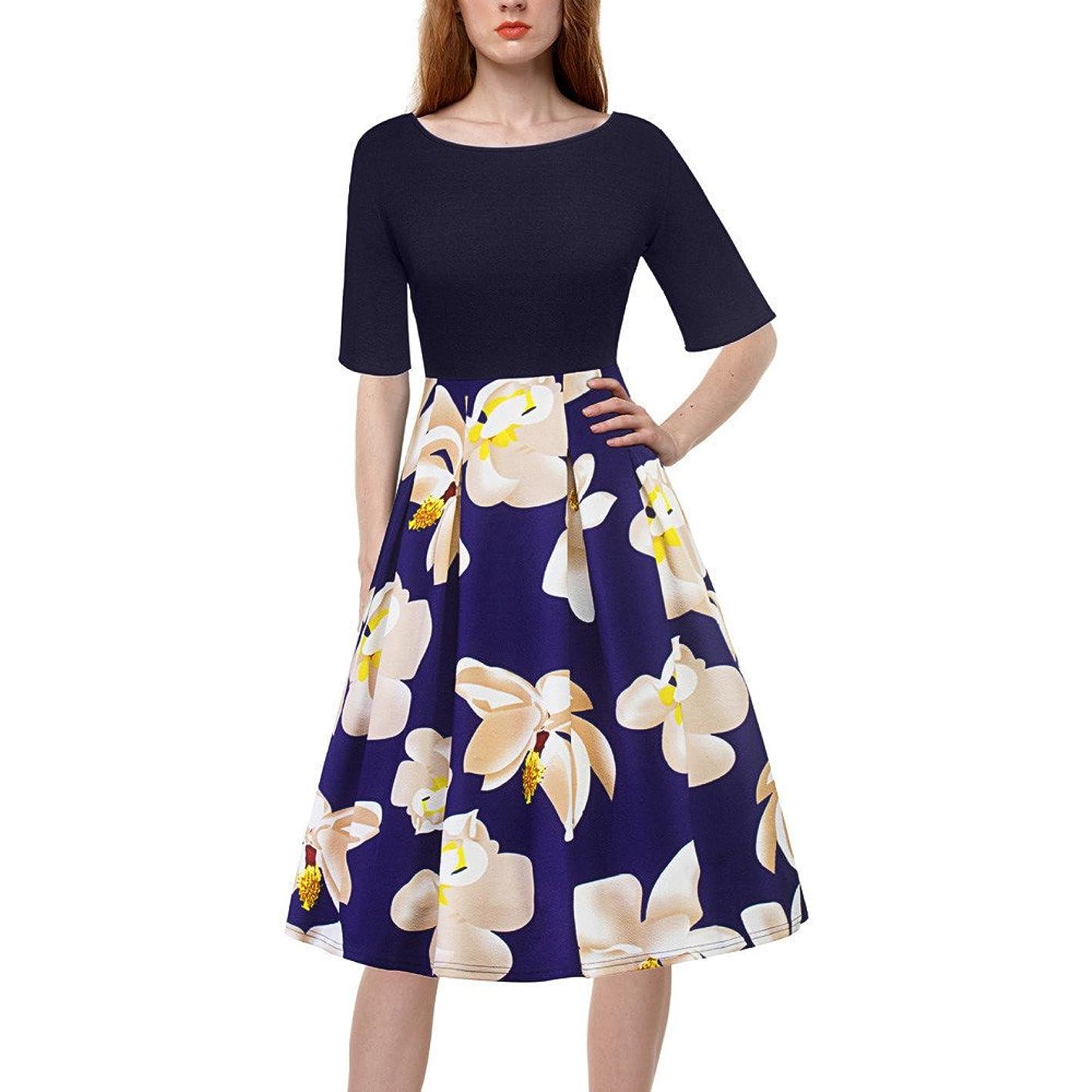 覗く自由順応性のあるワンピース Timsa プリントワンピース 花柄 ドレス レディース マキシワンピース 春夏 スプリットスカート 半袖 サンドレス 女性 ジャンパースカート シンプル ロングスカート 通勤 日常用