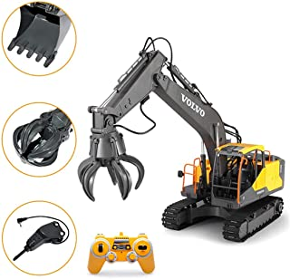 HMANE 3 in 1 2.4G Remote Control Excavator Engineering Truck Model Construction Toy Electric RC Car for Kids Boys