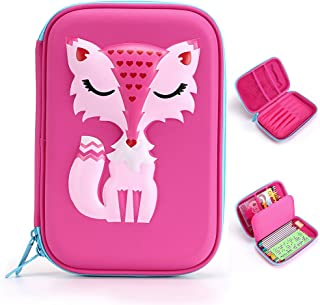 BTSKY Cartoon Fox Kids Pencil Case- Hard Shell EVA Pen Pencil Organizer School Stationery Holder for Boys and Girls (Pink)