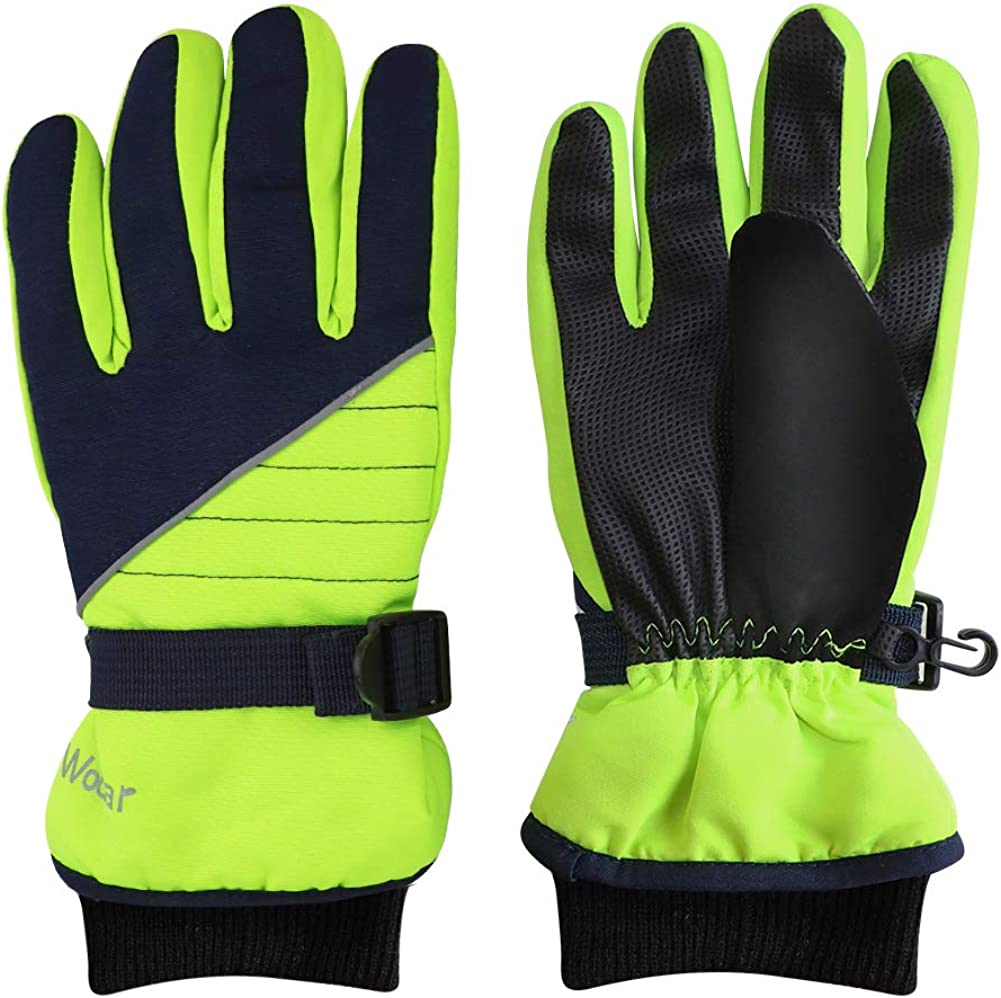 Kids Winter Gloves - Snow & Ski Waterproof Youth Gloves for Boys & Girls - for Cold Weather Outdoor Play of Skiing & Snowboarding - Windproof Thermal Shell & Synthetic Leather Palm