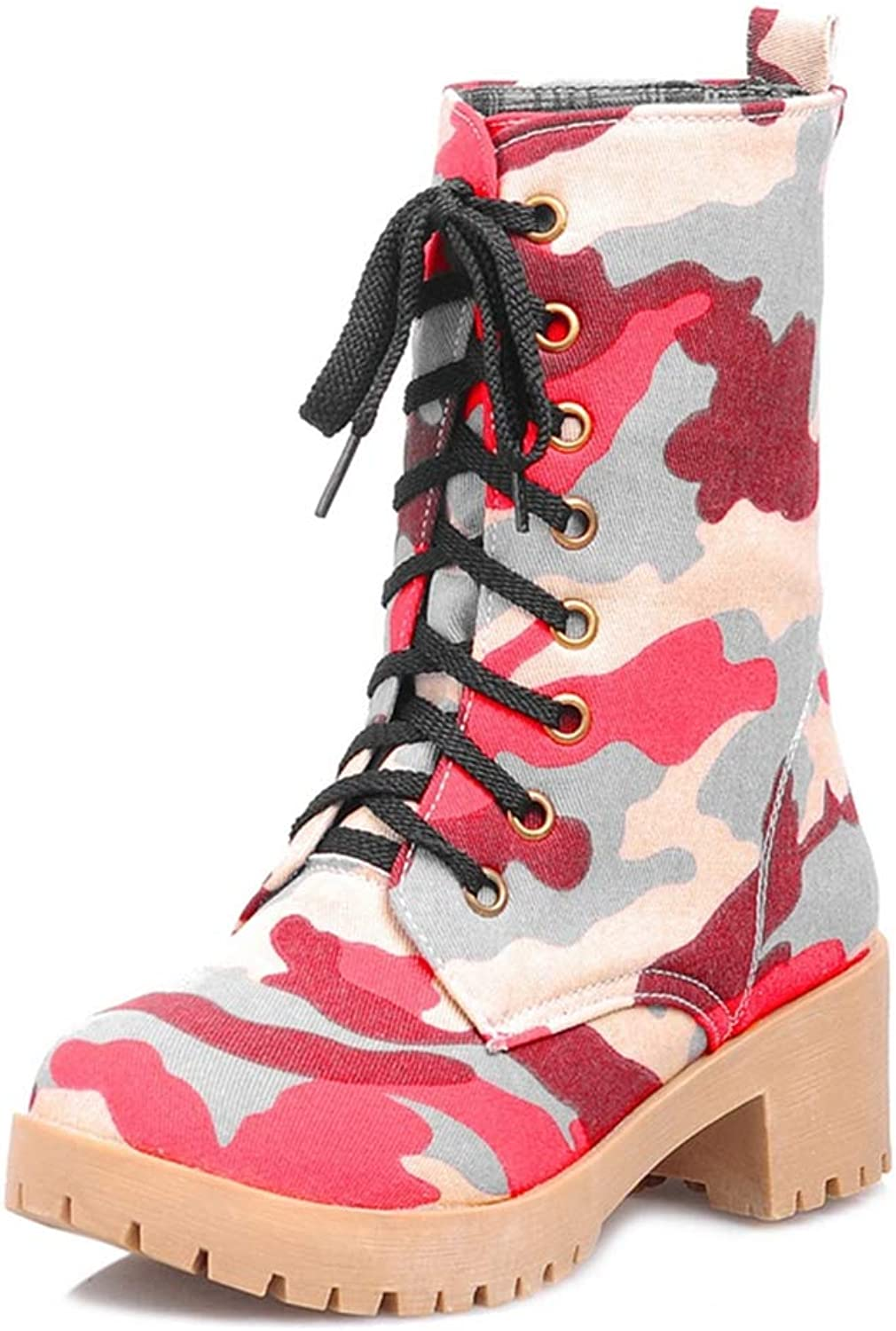 GIY Womens Lace Up Low Heels Ankle Boots Camouflage Paltform Round Toe Winter Mid Calf Boots Casual Ladies shoes