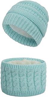 Set de Bufanda y de Gorro para Bebé Niña Niño Invierno Cálido Sombrero y Beanie Bufanda de Punto Pañuelos para el Cuello U...