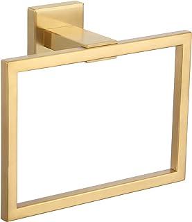 Angle Simple ハンドタオルホルダー つや消しゴールド SUS304 ステンレススチール スクエアタオルリング バスルームタオルハンガー 壁用 7.09インチ