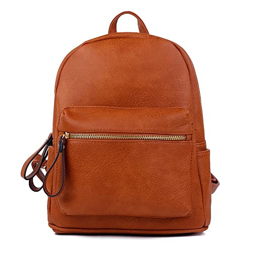 0201224df150 Women Backpack Purse PU Leather Simple Design Casual Daypack Fashion School  Backpack for Girls Brown