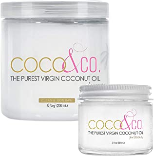 COCO & CO. Organic Coconut Oil for Hair & Skin, Beauty Grade - Combo Set for Bath & Travel (8 oz & 2 oz Jars)