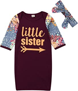 89b28e444 Newborn Baby Girl Floral Nightgowns with Headband Sleeper Gown Take Home  Outfit