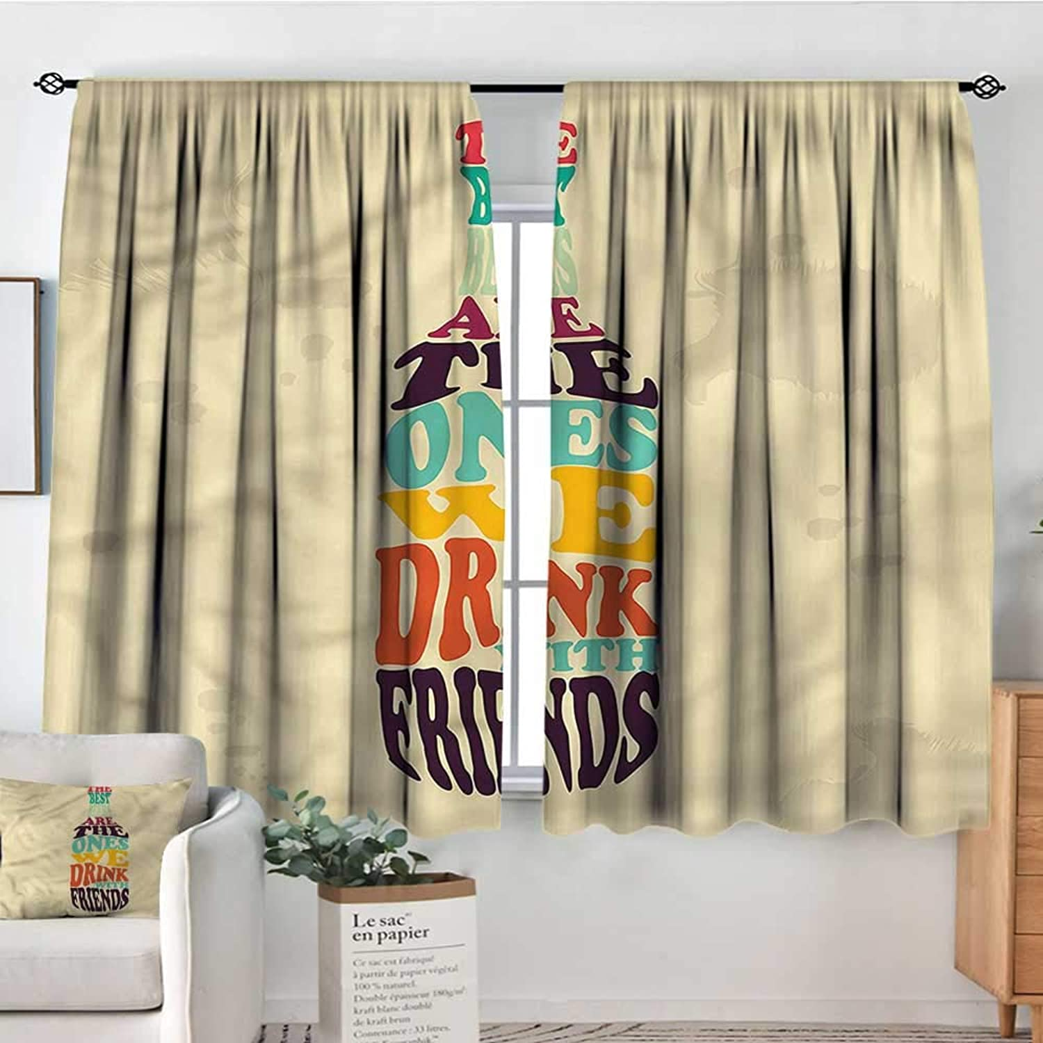Man Cave,Room Darkening Curtains Lettering Inside Beer Can 42 X72  Nursery and Kids Bedroom Curtains