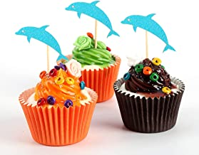 Amosfun 24pcs Paper Cake Picks Birthday Cake Cupcake Toppers Party Decorations Blue Dolphin Shaped Cake Toppers