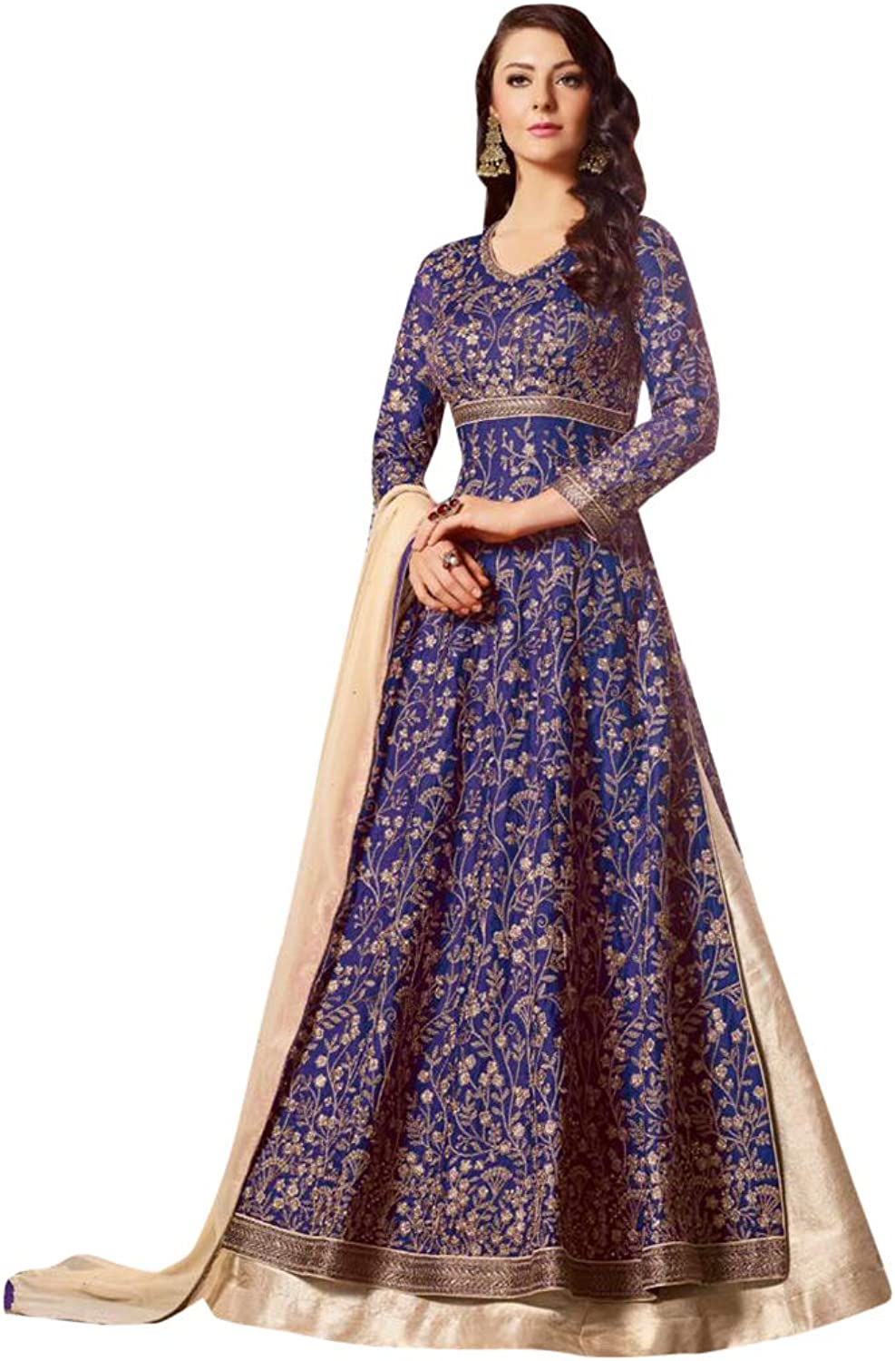 bluee Satin Heavy Embroidered Anarkali Skirt Suit for Women Indian Designer Party wear 7576