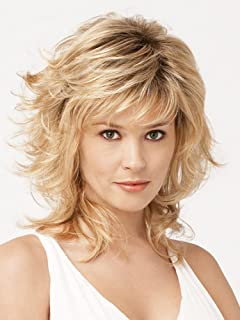 SmartFactory Medium Blonde Natural Small Kindly Curly Human Hair Synthetic Fiber Wig For Women