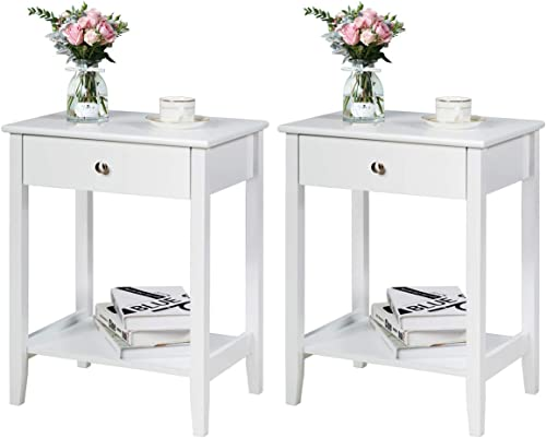 wholesale Giantex Nightstand Wooden 2-Tier high quality Couch Sofa online Side Table with Drawer, Storage Shelf, Solid Wood Legs,Mufti-Functional Home Furniture for Living Room Bedroom Study Room End Table (2, White) online sale