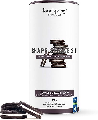 foodspring Shape Shake 2.0, Cookies & Cream, 900g, Substitut de repas riche en protéines et savoureux pour contrôle d...