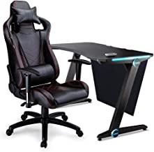 OVERDRIVE Peak Gaming Chair and DX3 Desk with Multi-Colour LED Lighting Setup Combo, Black and Red