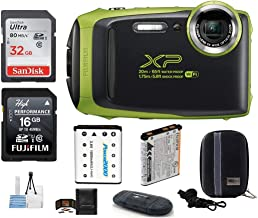FUJIFILM FinePix XP130 Water, Shock, Freeze and Dustproof Digital Camera (Lime) Bundle; Includes: 32GB & 16GB SDHC Memory Cards + Spare Battery + Camera Case + Card Reader + More