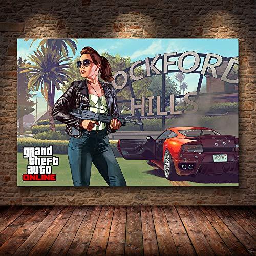 PCCASEWIND Grand Theft Auto V Gioco Poster GTA 5 Stampa su Tela Pittura Immagini per Pareti Decorazioni per La Casa Decorazione della Parete (50X60Cm Senza Cornice) Ad-595