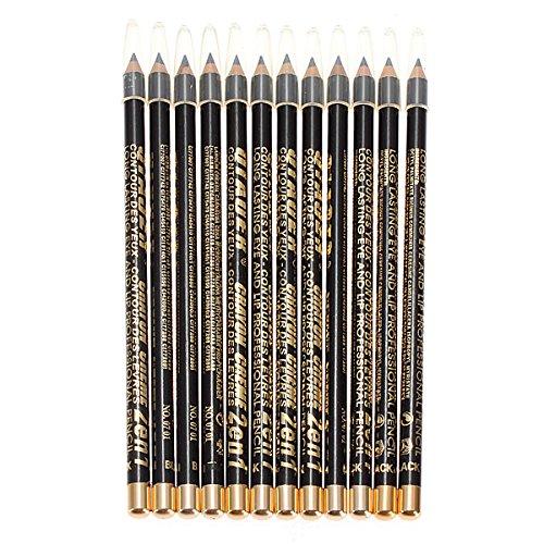 Bluelover 12Pcs Noir Maquillage Cosmétique Crayon À Sourcils Imperméable À l'eau
