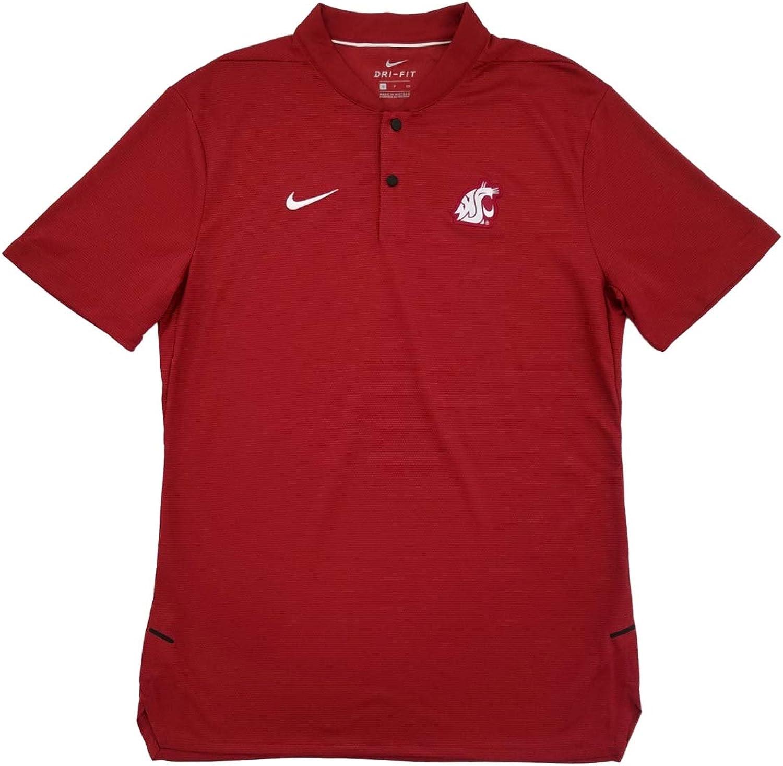 Nike Mens Crimson Washington State Cougars Coaches Blade Collar Polo Shirt