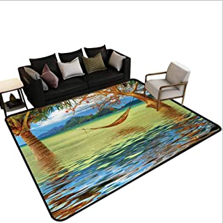Holidayclassroom Carpet Image of Hammock Hanging Between Trees in The Tropical Lake Paradise Lands Art Work Classroom Rug Area Multicolor 4'x6'