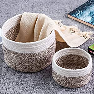 Small Storage Basket with Handles Cute Cotton Rope Basket Woven Basket Toy Basket Organizer Storage Bins for Toys