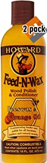 Howard Products FW0016 Feed-N-Wax Wood Polish and Conditioner, Beeswax &, 16 oz, orange, 16 Fl Oz - 2 Pack