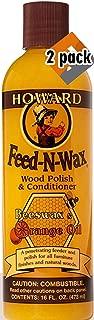 Howard Products FW0016 Feed-N-Wax ウッドポリッシュ&コンディショナー 蜜蝋& 16オンス オレンジ 16オンス 16オンス 2パック