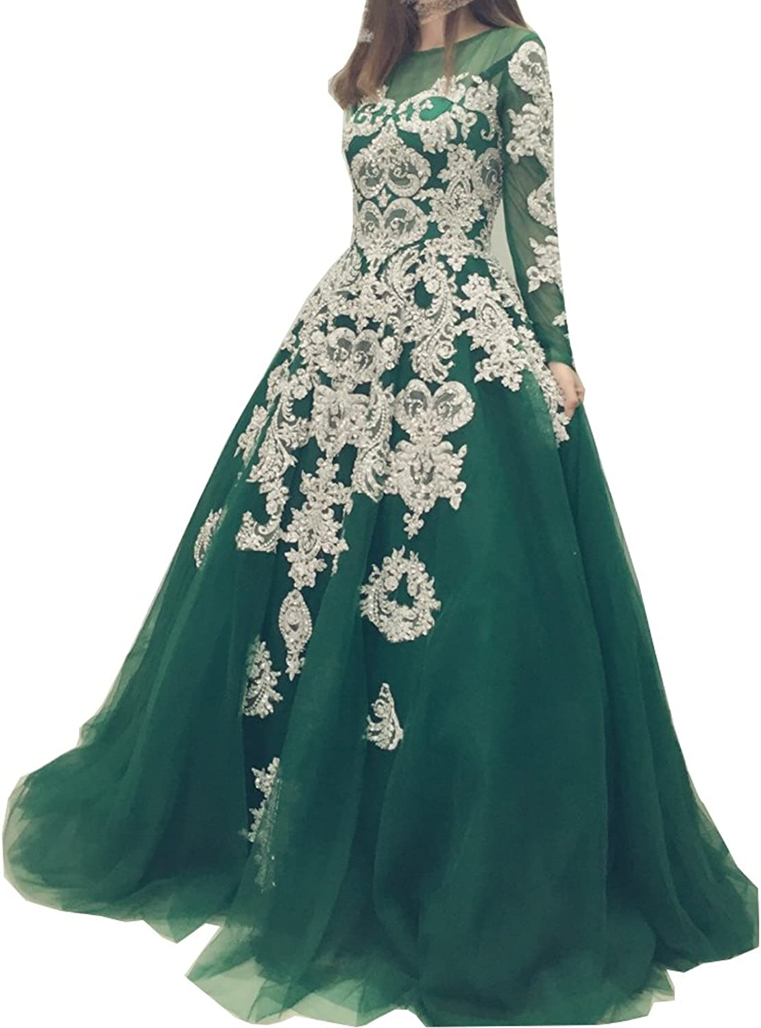 Chenghouse Ball Gown Prom Dresses Appliques Long Sleeves Prom Evening Dresses