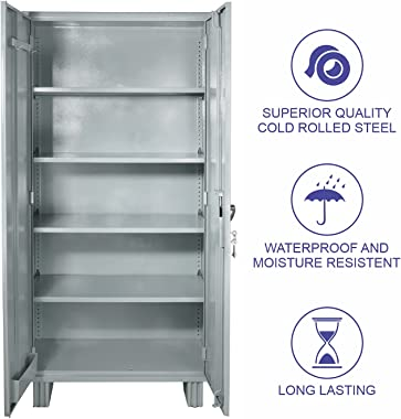 LAXMI KAPAT Storewell Metal Residence Spray Paint Office Cupboard with Adjustable 4 Shelf (TA Gray, 78x36x19 Inches)