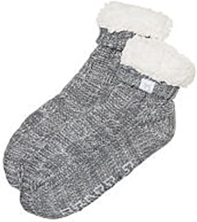 Pink Super Snuggly Sherpa Bootie Slippers Socks- Grey Marl