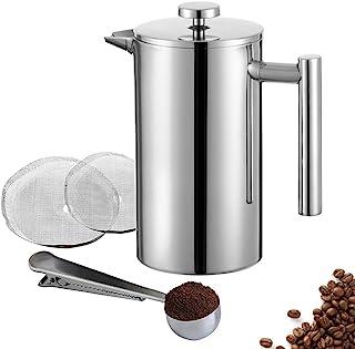 Meelio fransk press kaffebryggare, dubbelvägg 18/8 rostfritt stål värmebeständig te- eller kaffevattenkokare (1 liter, 34 ...