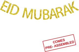 Ramadan Eid Mubarak Gold Glitter Banner Bunting - EID Banner - Ramadan Party Decorations Supplies - No DIY Required