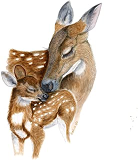 Hand Painted Mom and Baby Deer Watercolor Nursery Wall Art Decor, Forest Animal Nursery Decor, Various Sizes Available