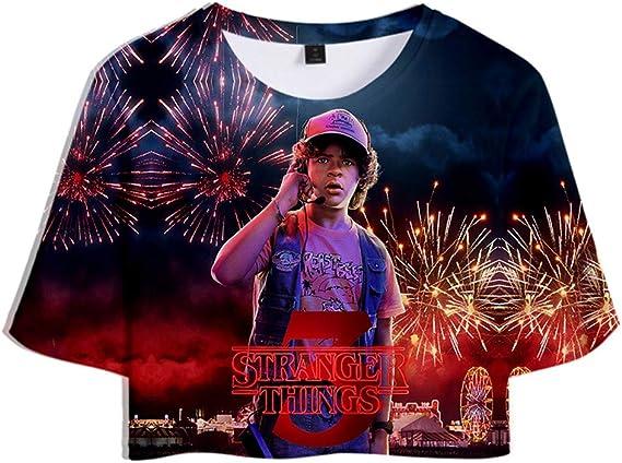 Camiseta Stranger Things Chica, Camiseta Stranger Things 3 Cortas Mujer T-Shirt Manga Corta Niña Impresión 3D T Shirt Regalo Camisa Verano Camisetas y ...