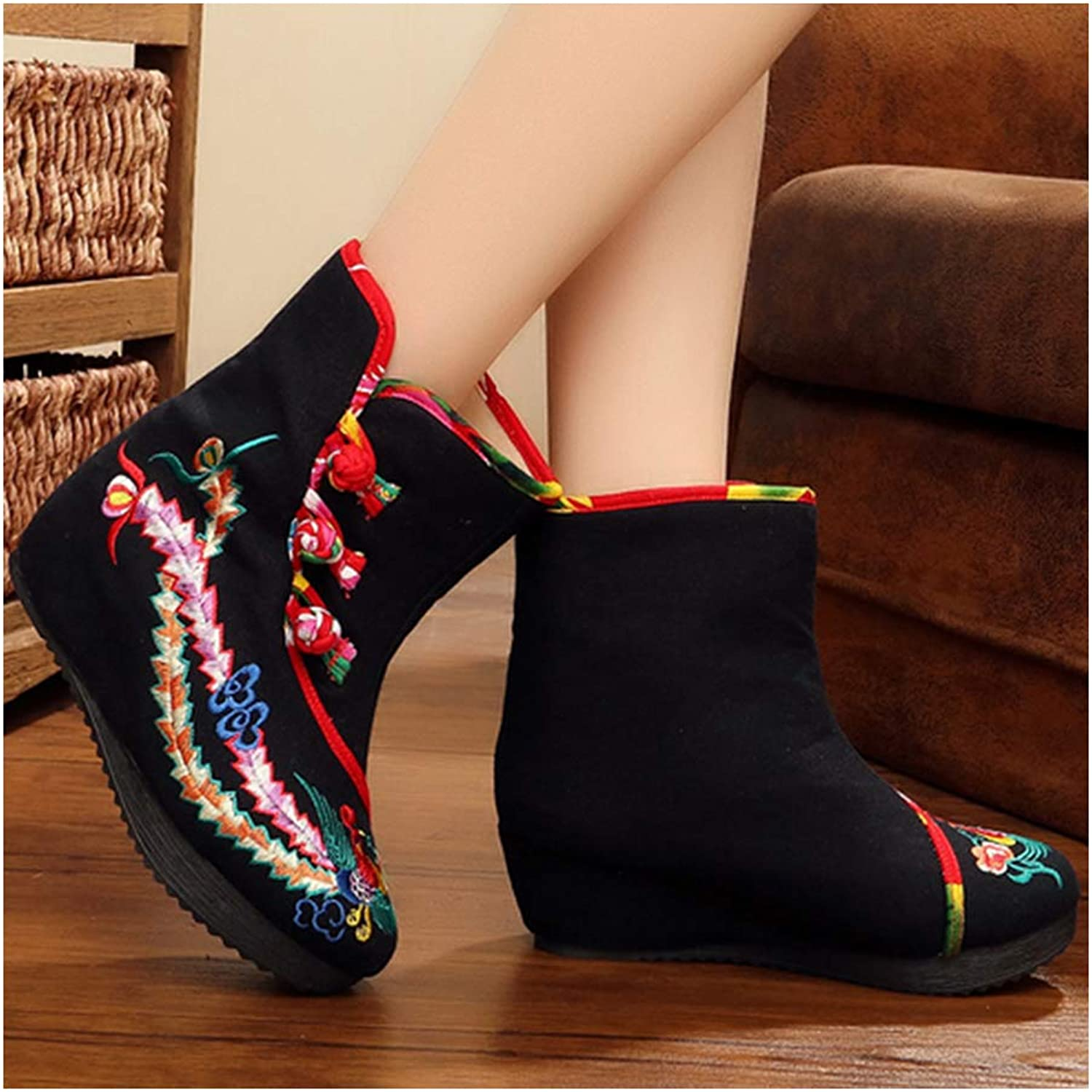Longxing Vintage Beijing Cloth shoes Embroidered Boots Black