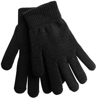 NINGYE Unisex vinterstickade handskar, tjocka plyschfoder hela fingervantar