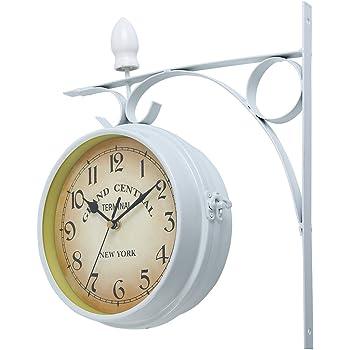 iglobalbuy reloj de pared en gran interior o exterior doble cara reloj de pared de jardín estación exterior Bracket gran reloj: Amazon.es: Jardín