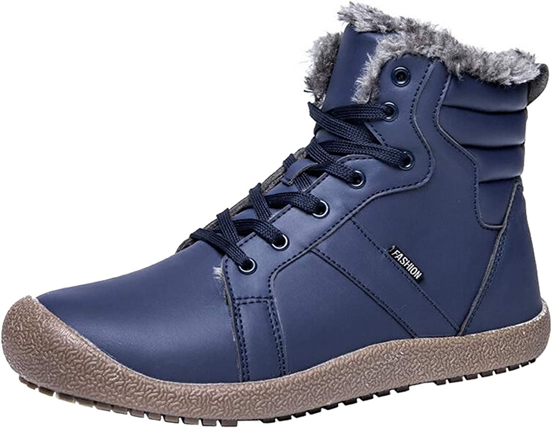 MOREMOO Men's Warm Fur Lined Half Snow Boots High Top Combat Boots