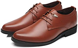 XIANGHENGDA-Classic Shoes Simple Mens Work Shoes PU Leather Casual Lace up Soft Outsole Flats Color : Black, Size : CN24