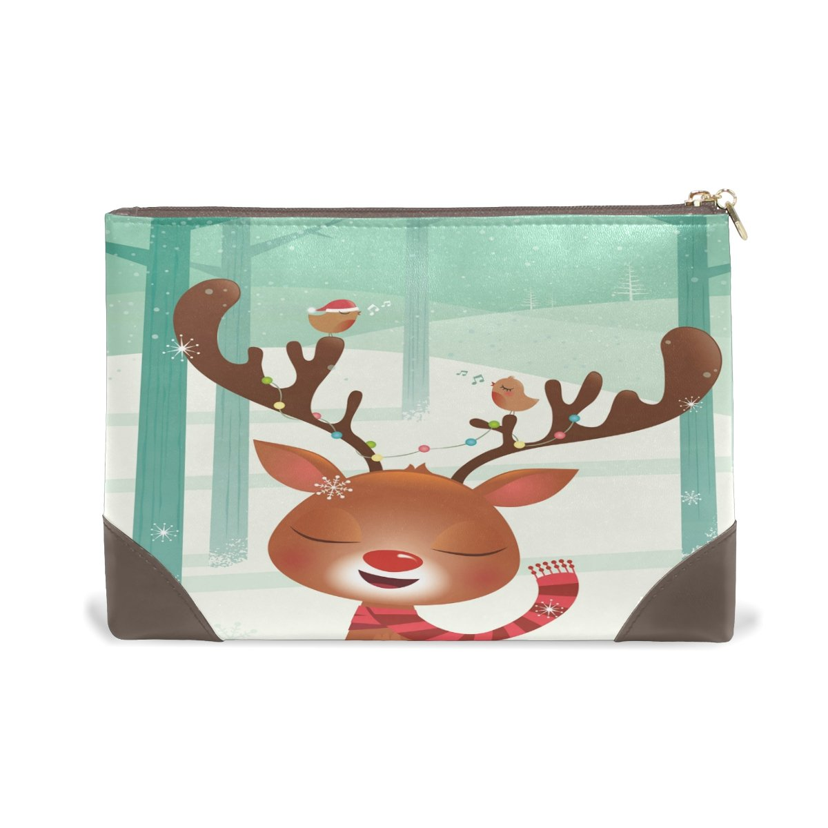 Genuine Leather Makeup Complete Free Shipping Bag Sika Birds Ranking TOP8 Ladies Comestic Case Deer
