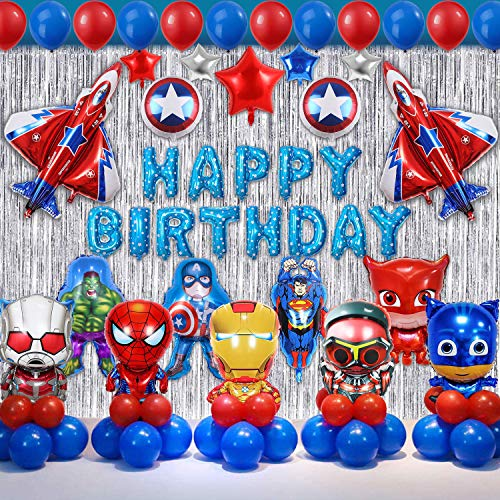 Super Hero Party Supplies,Superhero Birthday Party Decorations Kit – Happy Birthday Banner and Garland, Colorful Balloons. Superhero Themed Party Supplies for Birthday Comics Super Fans Boys Justice