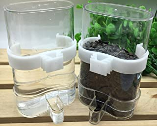 Hypeety Bird Feed Water Dispenser 2 PC Pet Feeder and Water Cup 200ml/7.05 oz Clear Bird Cage Feeder for Finch Parakeet Small Bird (Color Random & Pack of 2)