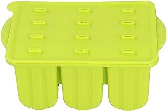 12 Roosters Siliconen ijsvormpjes Dienblad IJsmachines Vorm met deksel en 50 stokjes Anti-aanbak food grade(Groen +50 ijss...