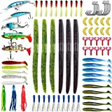 SundayPro Soft Fishing Lures Kit Set with Tackle Box Including Plastic Worms, Jigs, Topwater Lures, Hook Sinking Swimbaits and More Fishing Gear Lures Kit Set for Saltwater and Freshwater, 79Pcs