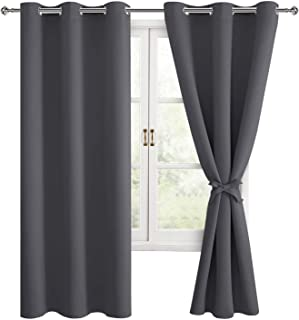 Hiasan Grommet Blackout Curtains for Bedroom, 42 x 63 Inches Length - Thermal Insulated & Light Blocking Window Curtains f...