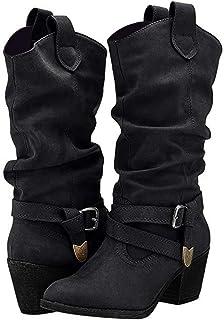 POLP Botas Camperas para Mujer Negro Marron Zapato de tacón con Hebilla Hasta la Rodilla Botas Vaqueras de tacón bajo de 5...