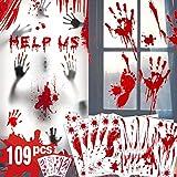 Decoraciones de Halloween de huella de mano sangrienta - 109 piezas de adornos de ventana de Halloween, sangrienta Adhesivos de piso con pegatinas de tatuajes, decoraciones de fiesta de Halloween