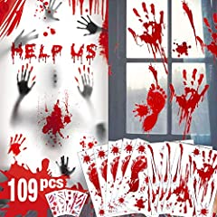 Creepy Halloween Decoration Set - This bloody Halloween window decorations will creep out all your neighbors. It includes 8 sheets window clings - 6 bloody handprint,10 bloody footprint with lots of blood splashes and 31 Halloween wound tattoos. Easy...