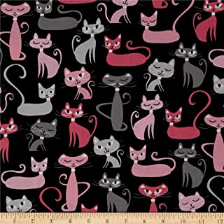 Robert Kaufman Kaufman Whiskers & Tails Cats Allover Black Fabric By The Yard