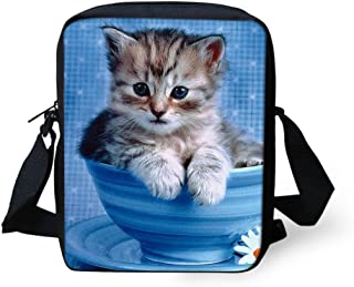 Cute Small Shoulder Bag Teacup Cat Printed Mini Crossbody Bags Cellphone Purse Wallet for Travel