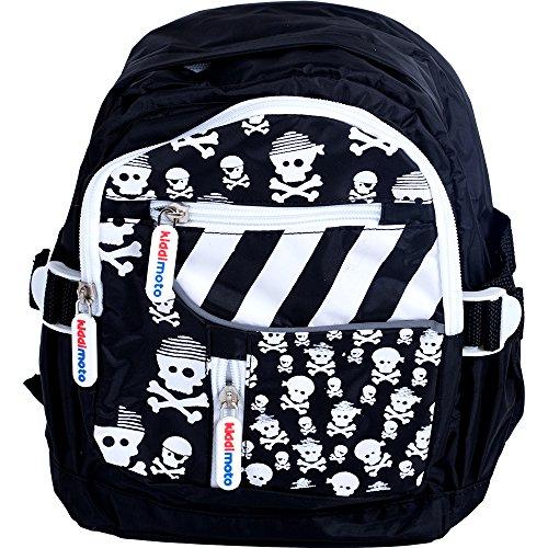 KIDDIMOTO BAGSZ-L - Kinder Rucksack mit Halterung für Fahrradhelm Skullz Pirat