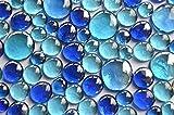 350G Pepite di vetro blu mix 3tenendo. Misure 13–33mm, ca. 81pezzi decorazio...